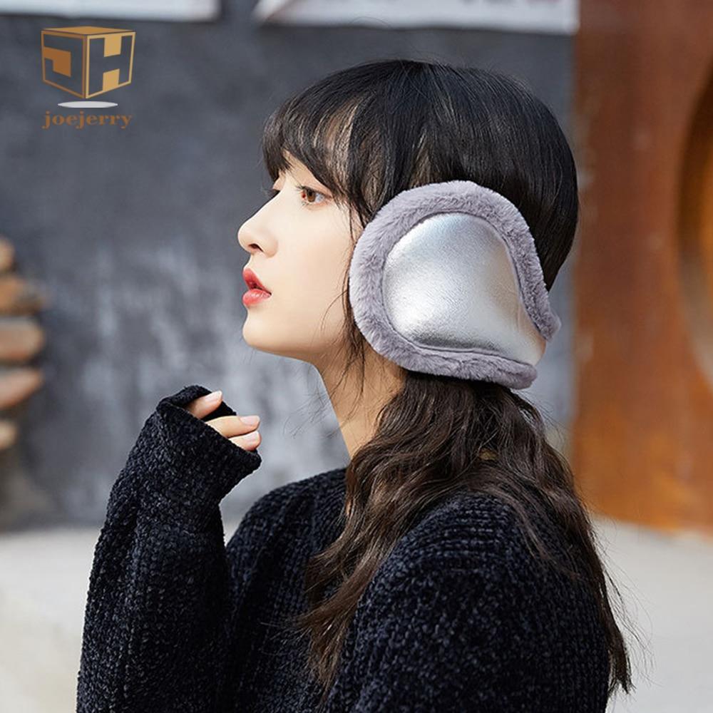 JOEJERRY Fur Earmuffs Warm Winter Girls Ear Muffs Headstrap Wrap Band For Women Men Leather Headband Black Pink Silver Khaki
