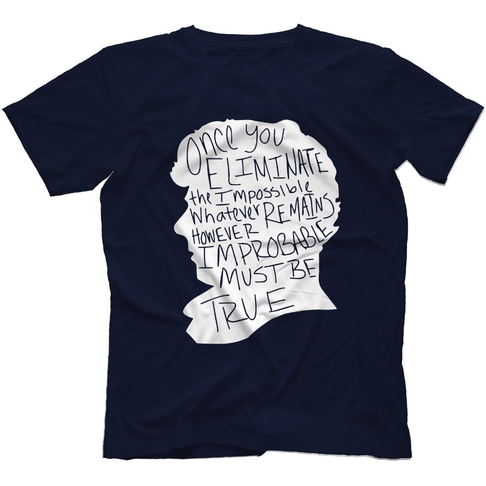 Sherlock <font><b>Holmes</b></font> Inspired T-Shirt 100% Cotton Men's T Shirt Camisetas Mens Short Sleeve T-Shirt New Summer High Quality Shirts