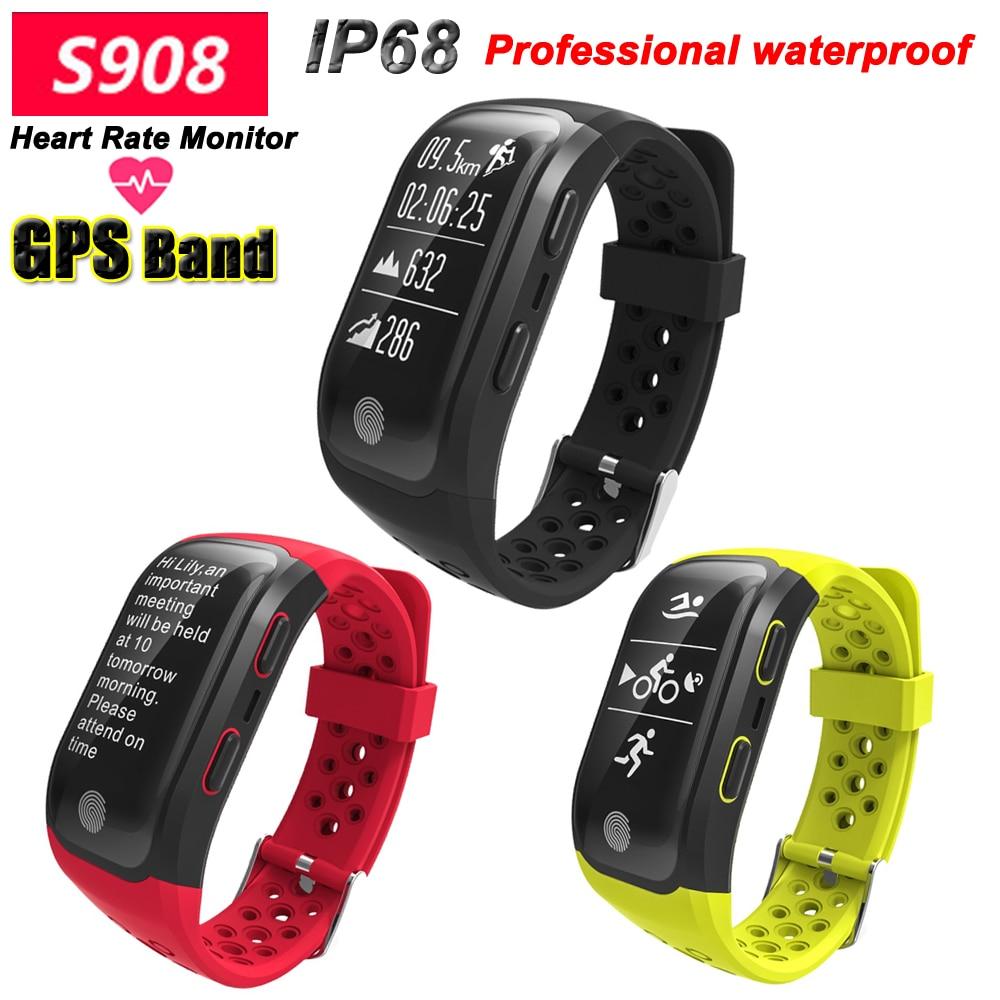 100% Joinrun S908 gps Smart Band IP68 Водонепроницаемый спортивный браслет нескольких видов спорта монитор сердечного ритма вызова напоминание Smartband