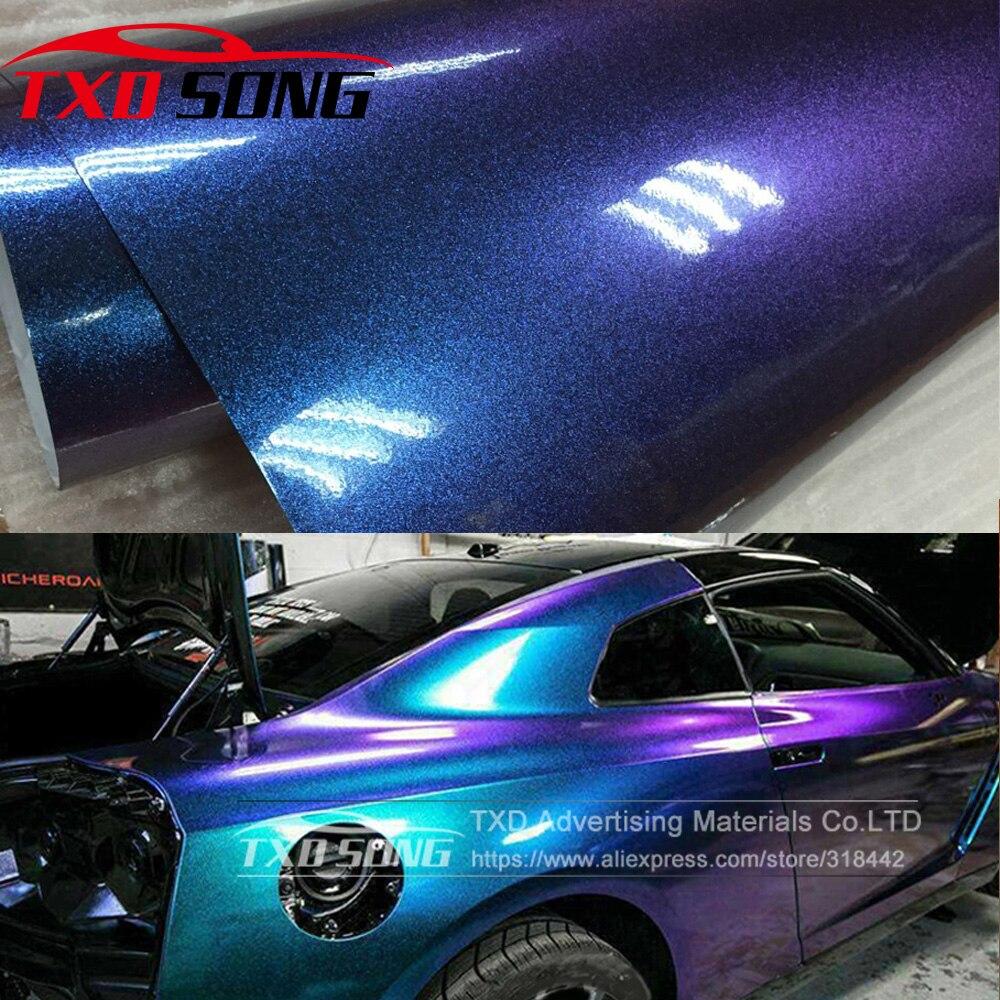 5 M/10 M/15 M/20 M X 152 CM/rouleau de Film vinyle caméléon brillant bleu clair à violet avec autocollant pour voiture brillant sans bulles d'air