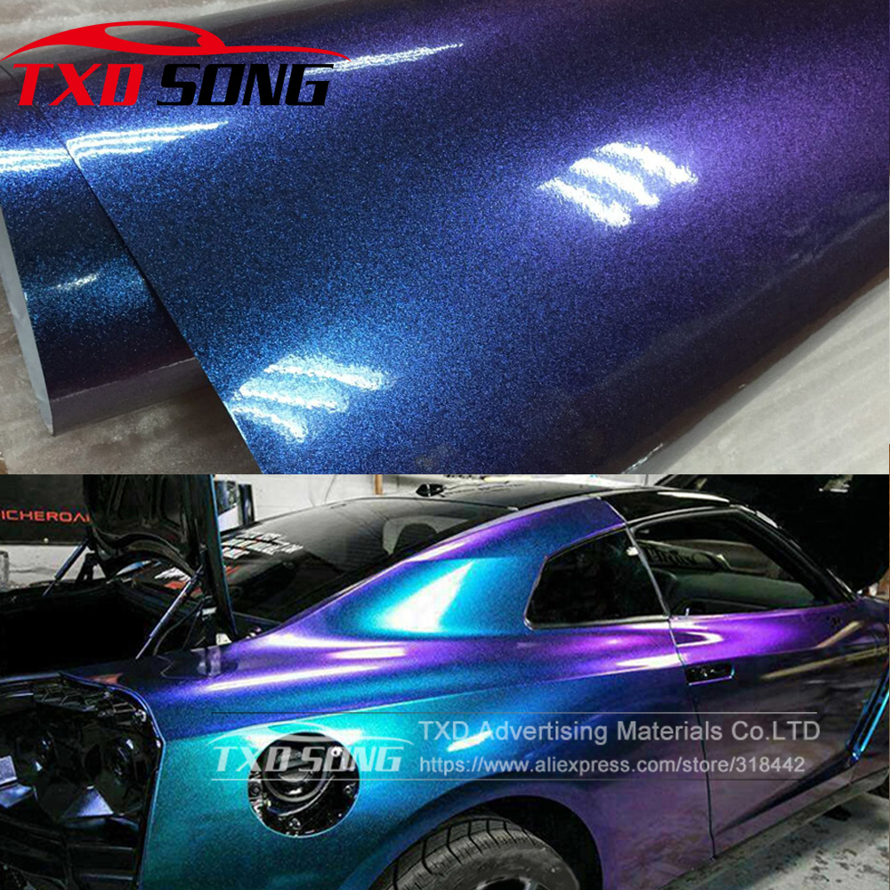 5M/10M/15M/20MX152CM/Roll Light blue to Purple Pearl Gloss Chameleon Vinyl Wrap Film With Air Bubble Free Shiny Car Wrap Sticker