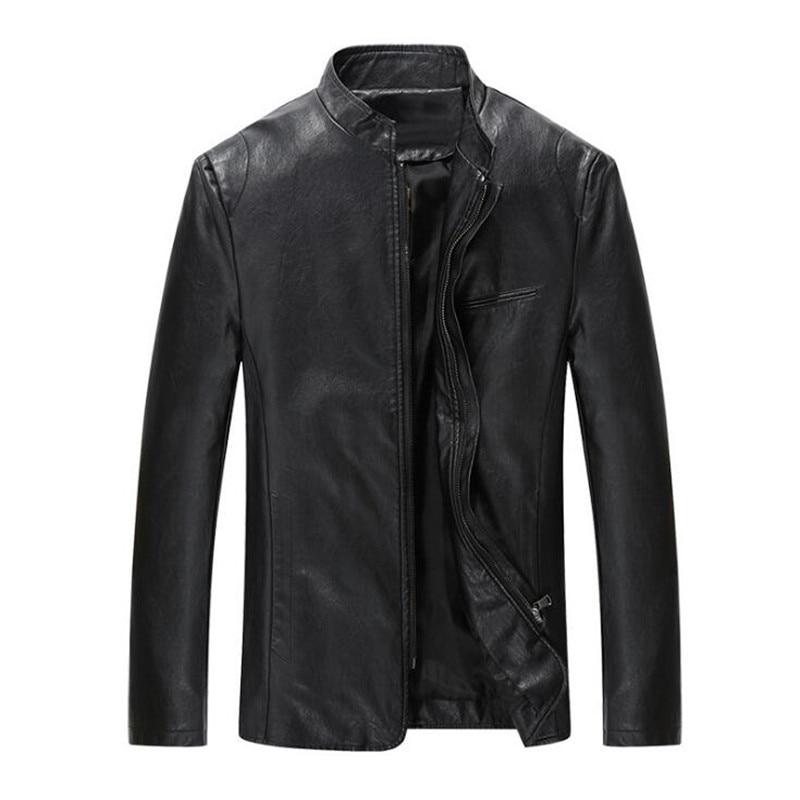 Hombres chaqueta de cuero con cremallera Negro Primavera / otoño - Ropa de hombre - foto 2