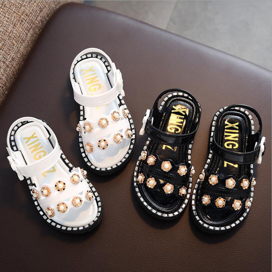 Girls Sandals Summer 2019 Kids Shoes Beading Plastic Sandal Beachwear Fashion Baby Toddler Girl Casual Princess Children Sandal