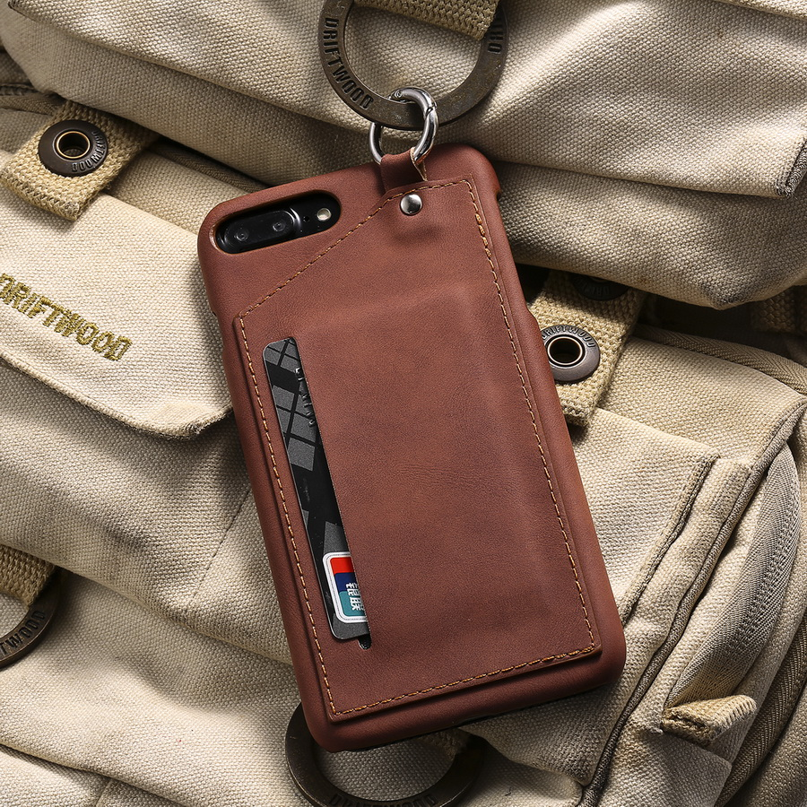 LANCASE For iPhone 7 Case PU Leather Card Slot Holder Ring Plastic Hard Cover For Apple iPhone 7 Plus Case Wallet Shockproof