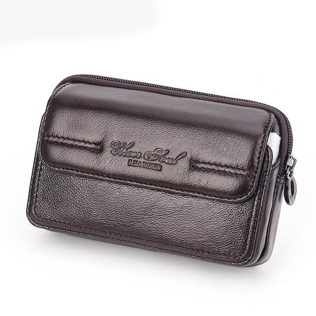 Мужской пояс с застежкой из натуральной кожи, сумка для сигарет, кошелек с карманом, мужской чехол из воловьей кожи для мобильного телефона/телефона, поясная упаковка