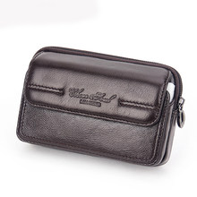 Men's Genuine Leather Flip Belt Hip Fanny Bag Cigarette Purse Pocket Male Cowhide Cell Mobile/Phone Case Cover Waist Pack(China)