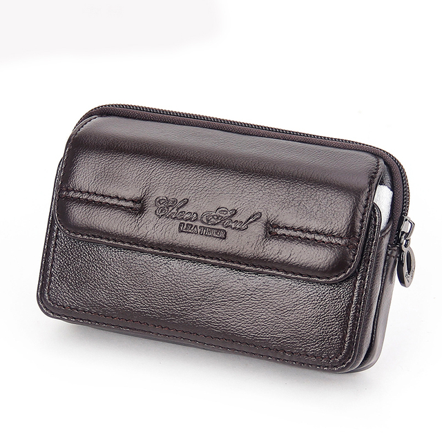Men's Genuine Leather Flip Belt Hip Fanny Bag Cigarette Purse Pocket Male Cowhide Cell Mobile/Phone Case Cover Waist Pack