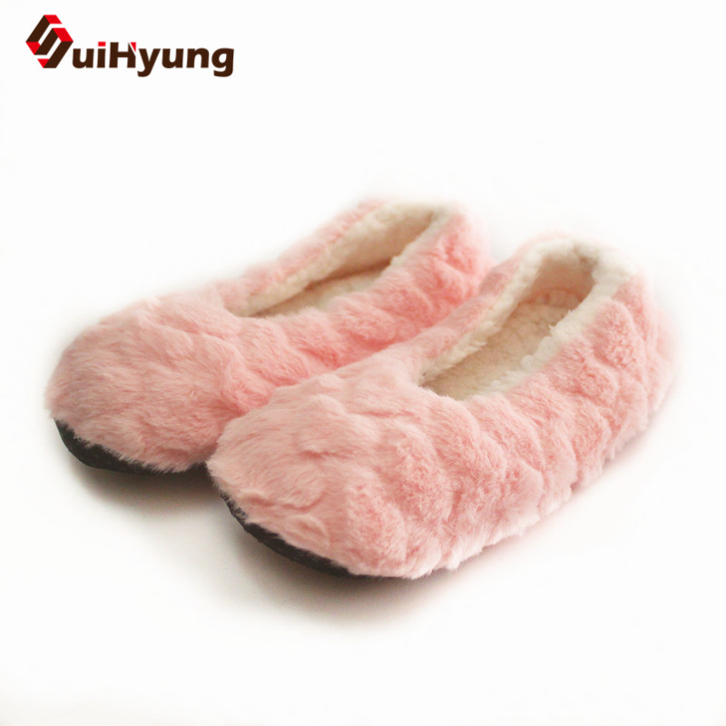 купить Suihyung women Winter Warm Soft Sole Plush Cotton-padded Shoes Coral Fleece Home Slippers Indoor Shoes Foot Warmer Floor Socks недорого