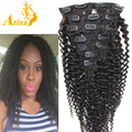 Moda cabeça cheia Afro crespo virgem mongol encaracolado Kinky extensões de cabelo humano cabelo tecer cabelo clipe Ins para preto