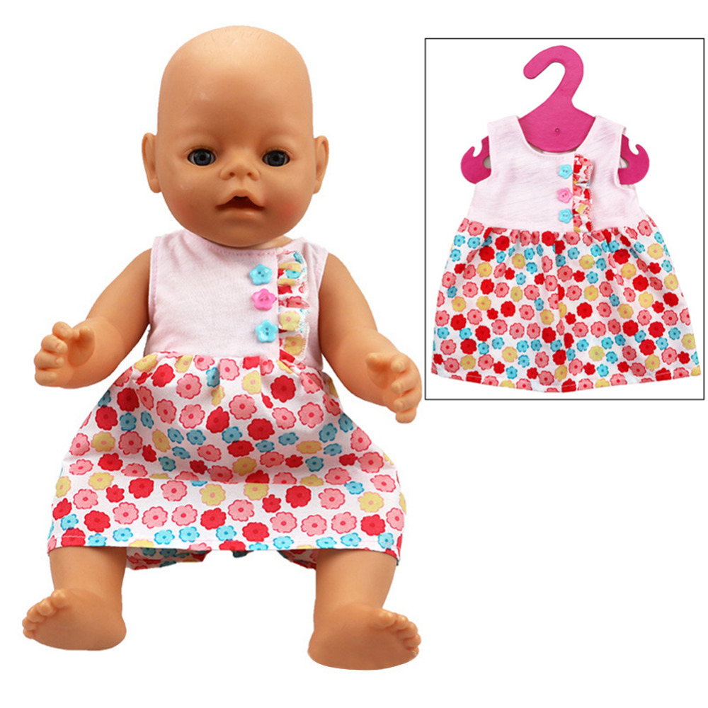 New Summer Dress Doll Clothes Wear with Three Buttons for 43cm/16.93in Zapf Baby Doll Wholesale
