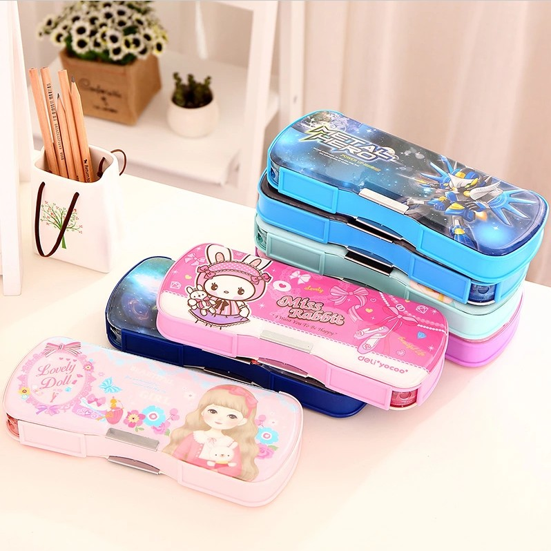 Deli Pencil Case Plastic Schools & Offices Pencil Cases School Supplies Pencilcase Pencil Box Stationery School Tools Papelaria deli pencil case children multifunctional pencil box school student thomas plastic pen case stationery school supplies kids gift