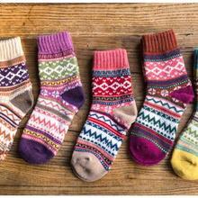 5 пар/лот! Зимние теплые женские носки шерсть рождественский принт шерстяные носки Рождественский подарок