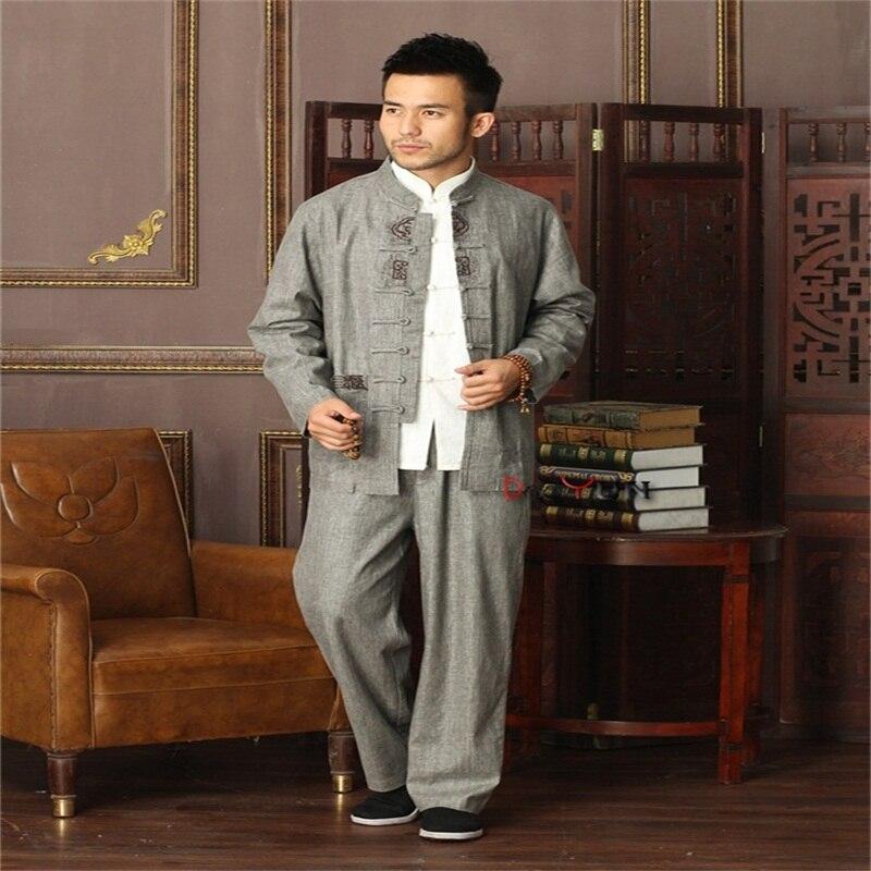 Hot Sale Gray Chinese Men Kung fu Uniform Cotton Linen Tai Chi Suit Vintage Button Clothing