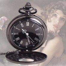 Creativa Vintage Antique Steampunk Cuarzo Colgante, Collar de Reloj de Bolsillo Negro