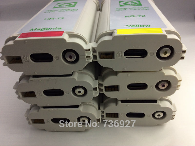 6PK Compatible Ink cartridge for hp 72 , refill ink cartridge C9403A C9370A , For Designjet T1100 T1120 T1200 T2300 T610 T620
