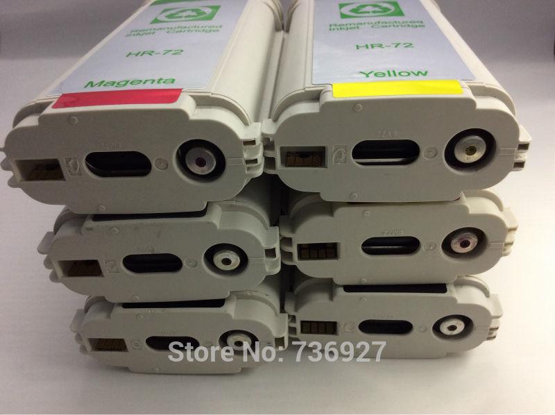 6PK cartuccia di Inchiostro Compatibile per hp 72, cartuccia di inchiostro ricarica C9403A C9370A, per Designjet T1100 T1120 T1200 T2300 T610 T620
