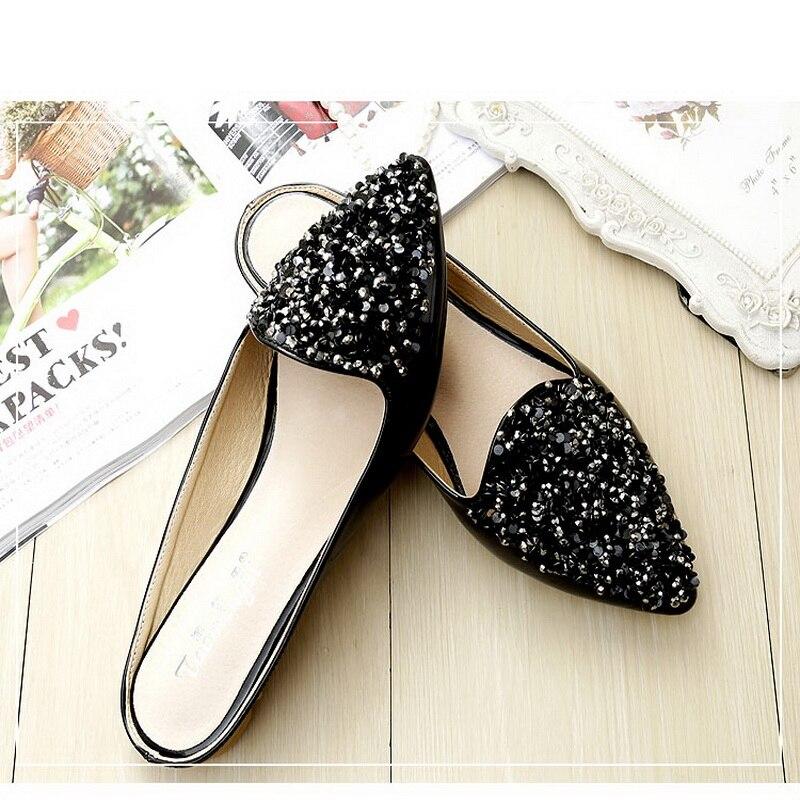 2018 noir Pois Mode Semelle Doux De En À Cuir Apricot Plates Verni Paillettes Sandales Chaussures Souple Cool Strass rU6TnqrB