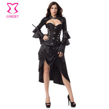 3-Pieces Set Steampunk Couture Burlesque Outfits Steel Boned Overbust Corset Gothic Jacket Punk Rock Skirt Vintage Clothing