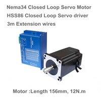 1 Set Nema34 Closed Loop 12N.m Servo motor Stepper Motor 6A 156mm & HSS86 Hybrid Step servo Driver 8A CNC Controller Kit