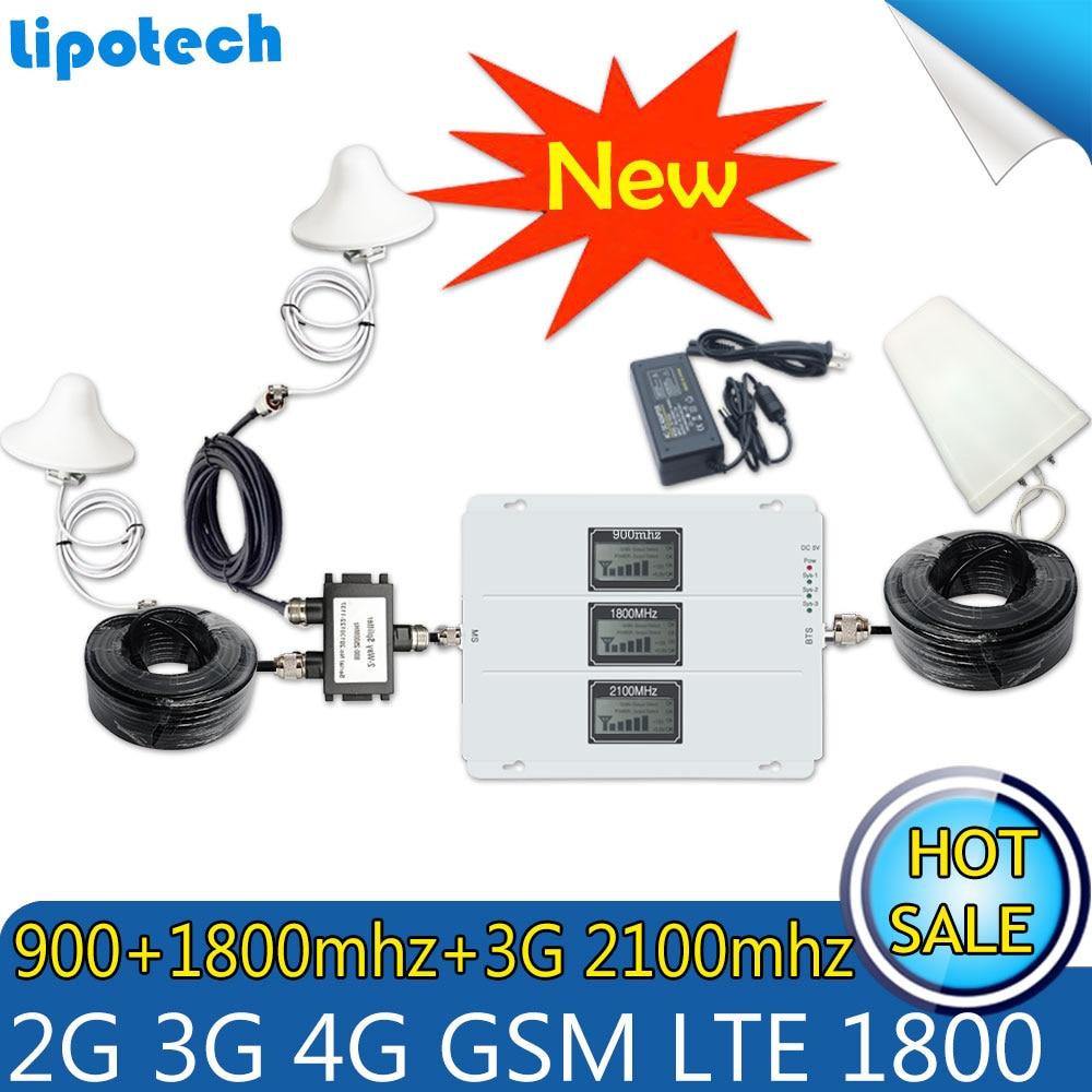 Kits Tri-Band 2g 3g 4g Cellular Signal Booster GSM 900 LTE 1800 WCDMA 2100 Zelle telefon Verstärker 70dB GSM Repeater 4g Antennen