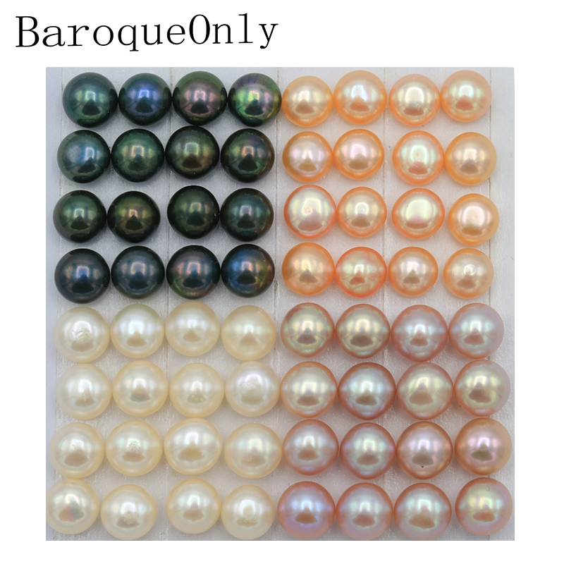 BaroqueOnly Half Drilled Natural Freshwater Button-shaped Pearl Oyster Naked Pearl Beads Loose Beads For DIY Jewelry Making