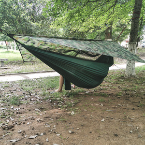Image 5 - ポータブル屋外のキャンプハンモック蚊帳防水オーニングぶら下げテント睡眠ベッドスイングハンモック 1 2 人