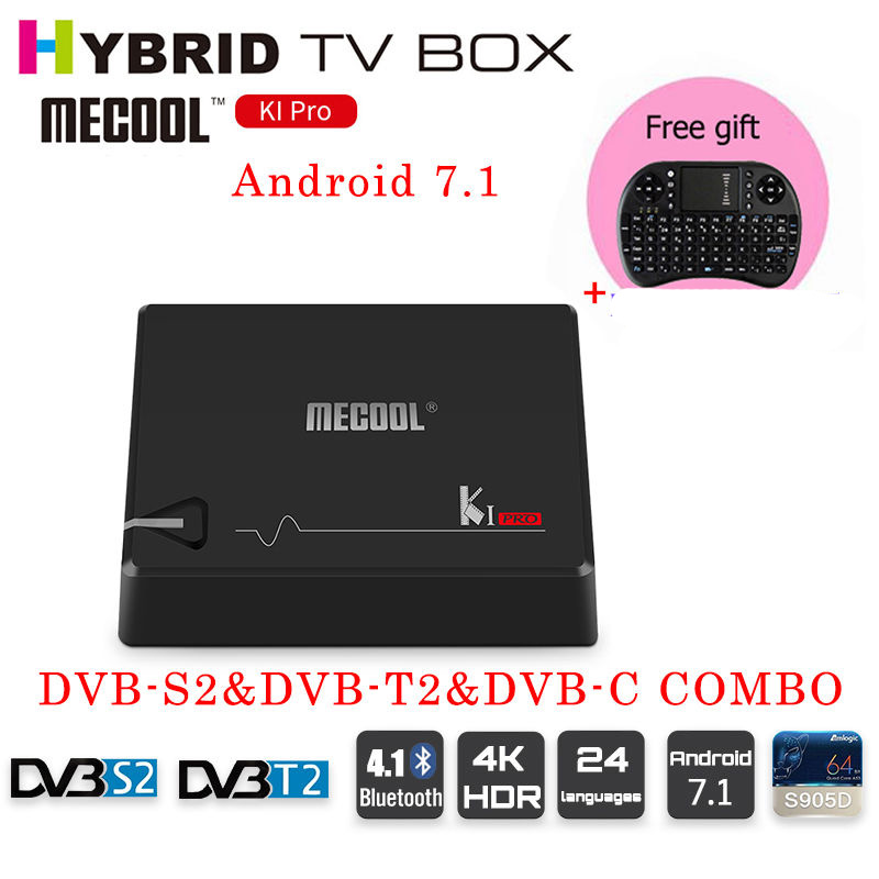 MECOOL ki pro s905d Android 7.1 DVB-S2&DVB-T2&DVB-C COMBO Smart TV Box 2GB DDR4 16GB Amlogic S905D 64 bit Quad Core KI pro 1080p mobile dvb t2 car digital tv receiver real 2 antenna speed up to 160 180km h dvb t2 car tv tuner mpeg4 sd hd
