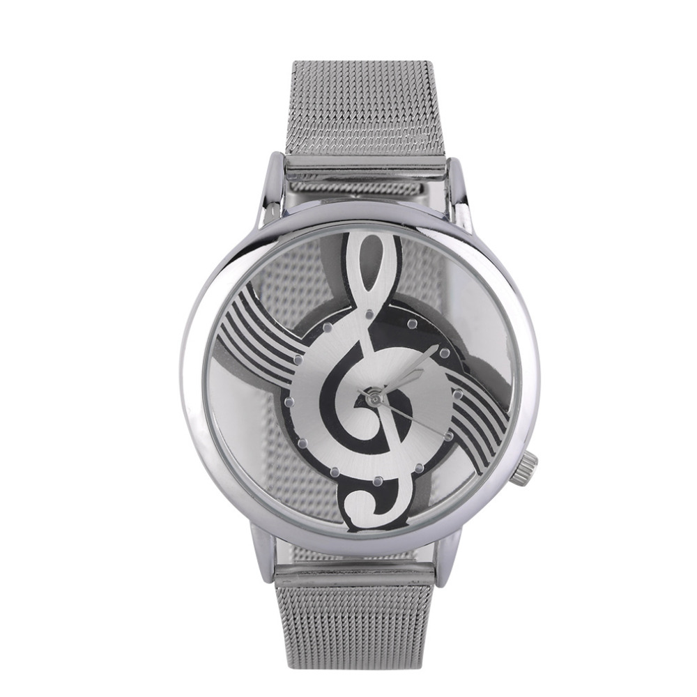 Music Note Design Hollow Out Unisex Watches Steel Strap Analog Quartz WristWatch Unique Skeleton Relogio Masculino Hot Selling