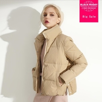 e0928b3fe5d1cb Winter New Fashion Brand White Duck Down Jacket Female Stand Collar  Stitching Warm Duck Down Coat