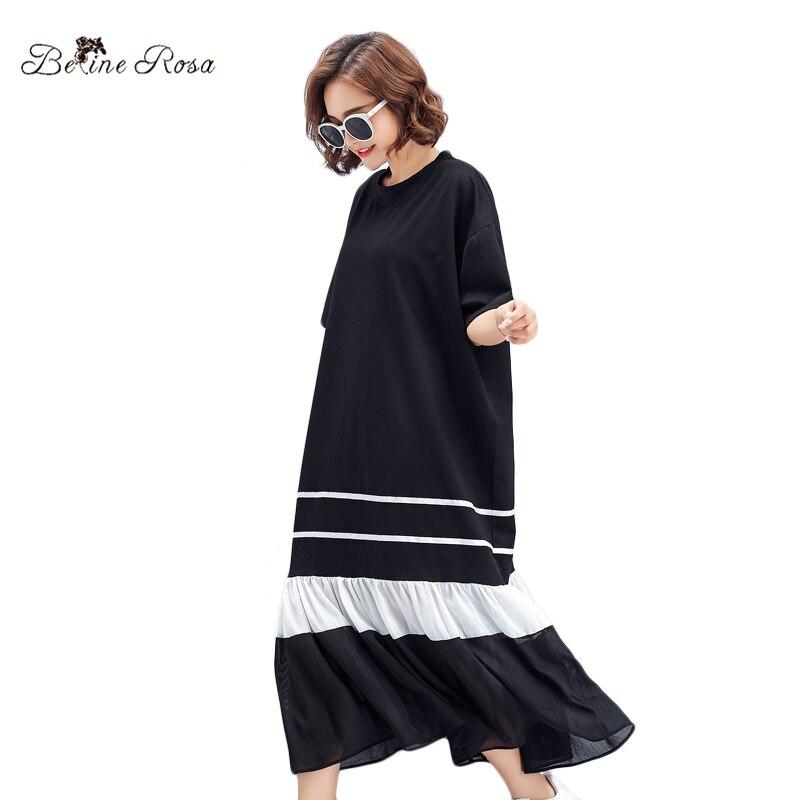 BelineRosa 2018 negro ocasional mujer verano estilo Manga corta drapeado volantes Hem vestido de diseñador TYW00777