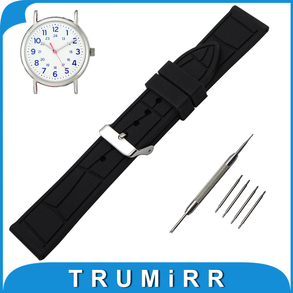 19mm 20mm 21mm 22mm Silicone Rubber Watchband for Timex Weekender Expedition Wrist Strap Stainless Steel Buckle Bracelet timex часы timex tw4b03500 коллекция expedition