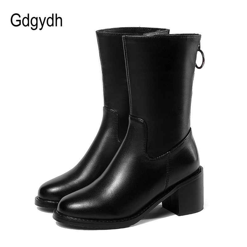 Gdgydh Autumn Genuine Leather Boots Women Shoes Fashion Zipper Mid Calf Women Boots Thick Heels Women Shoes Round Toe Size 40