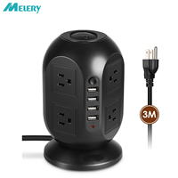 Vertical Power Strip Adapter Smart USB Outlet Surge Protector 8 AC US Plug Socket with USB 4 Ports Charger 3m Extension Cord
