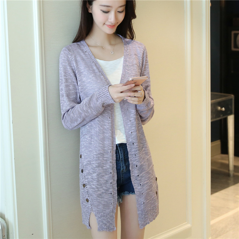 The 30 explosion plunges the new spring and summer long dresses in slim knit cardigan jacket thin F1695