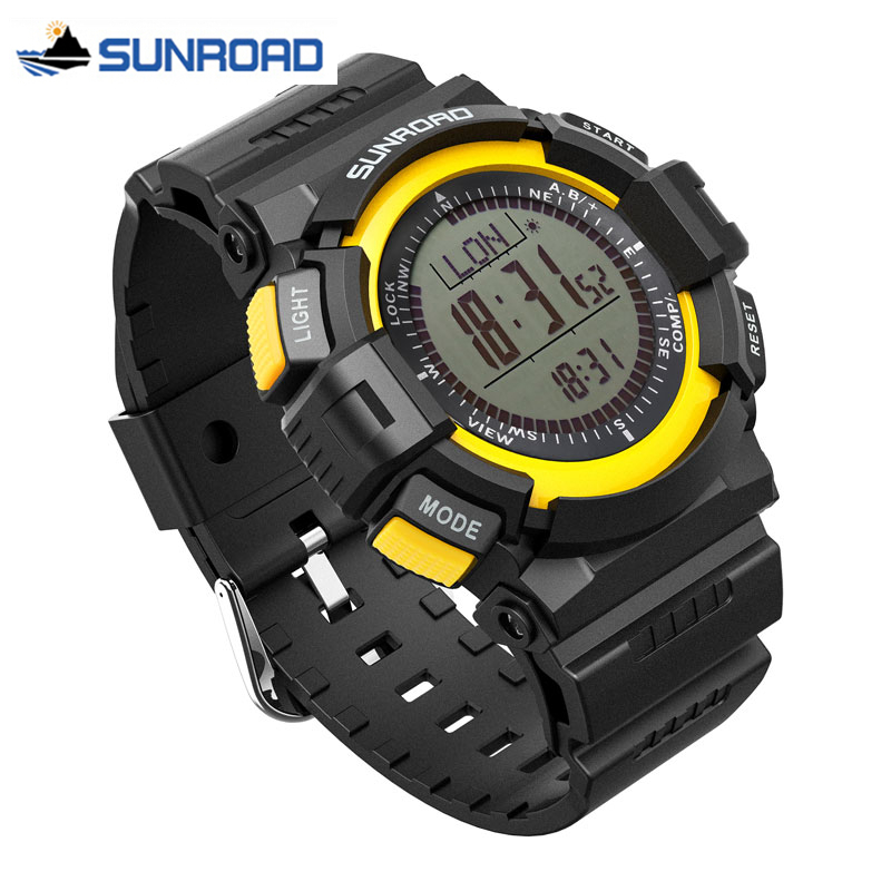 SUNROAD Mens Sport Watch Digital Altimeter Compass Stopwatch Fishing Barometer Pedometer Sport Clock Men Saat Relogio Masculino