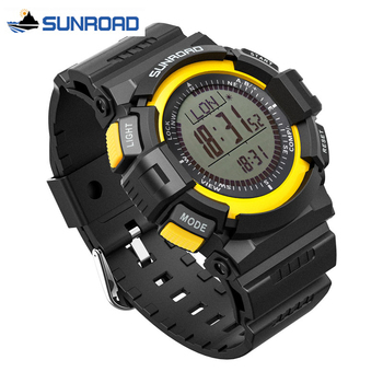 SUNROAD Mens Sport Watch Digital Altimeter Compass Stopwatch Fishing Barometer Pedometer Sport Clock Men Saat Relogio Masculino sunroad fishing barometer watch fr720a men altimeter thermometer weather forecast 50m waterproof stopwatch smart watch black