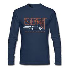 Hot Sale Cotton Detroit Michigan Long Sleeve Men's Round Neck T Shirt Normal Male Spring Detroit Michigan Camisetas