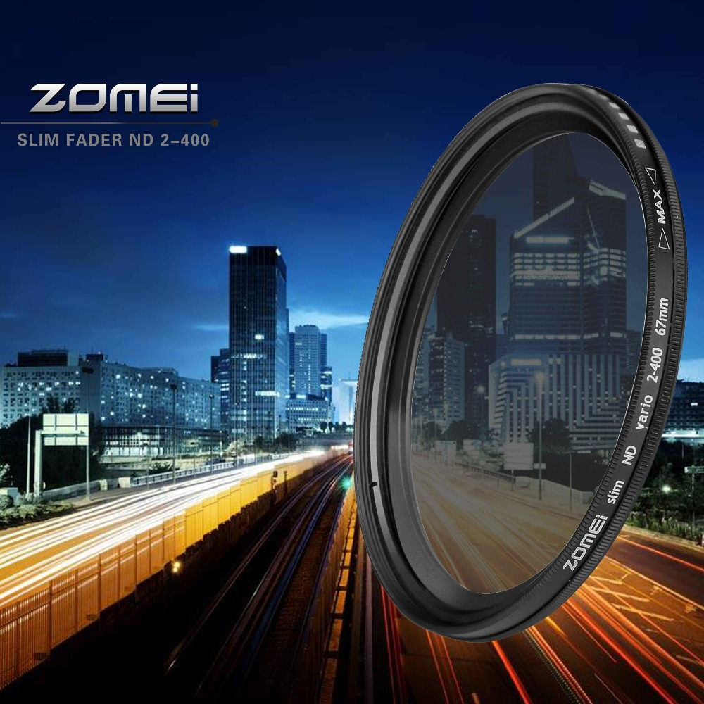 ZOMEI Glass Slim ND2-400 Neutral Density Fader Variable ND filter 49/52/55/58/62/67/72/77/mm dslr camera filters accessories zomei fader variable nd filter neutral density adjustable nd2 400 49 52 55 58 62 67 72 77 82mm for canon nikon slr camera lens