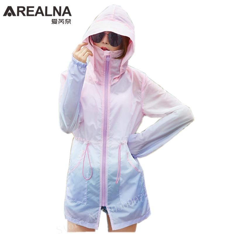 2018 New Summer Fashion Rainbow Color Sun UV Protection Hooded Jacket Clothing Thin Breathable Beach Cardigan Windbreaker Coats