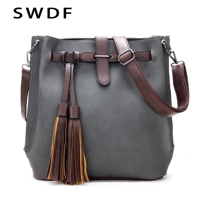 2018 Vintage Women Bucket Bag Leather Messenger Bags Handbags Women Famous Brands Designer Female Shoulder Tassel Bag bolsas sac monf genuine leather bag famous brands women messenger bags tassel handbags designer high quality zipper shoulder crossbody bag
