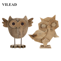 VILEAD 10'' Creative Wooden Owl Figurine Wood Cute Wise Owl Model Ornament Hand Made Wooden Decoration Christmas Home Decor Gift