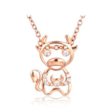Купить с кэшбэком 2018 18K Gold New Fashion Crystal Rose Gold Color Constellation Taurus Necklace Pendants For Women AU750 Jewelry Gifts 0.68g