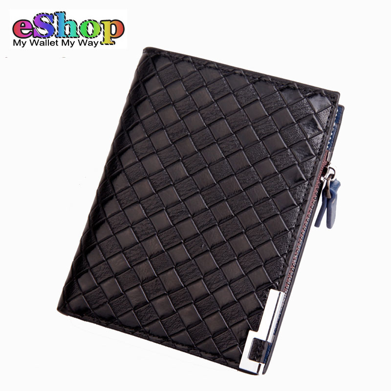 Fashion Men Wallet Famous Brand Knitting Designer Wallets Men Purse Leather Wallet With Coins Pocket ID Card Holder
