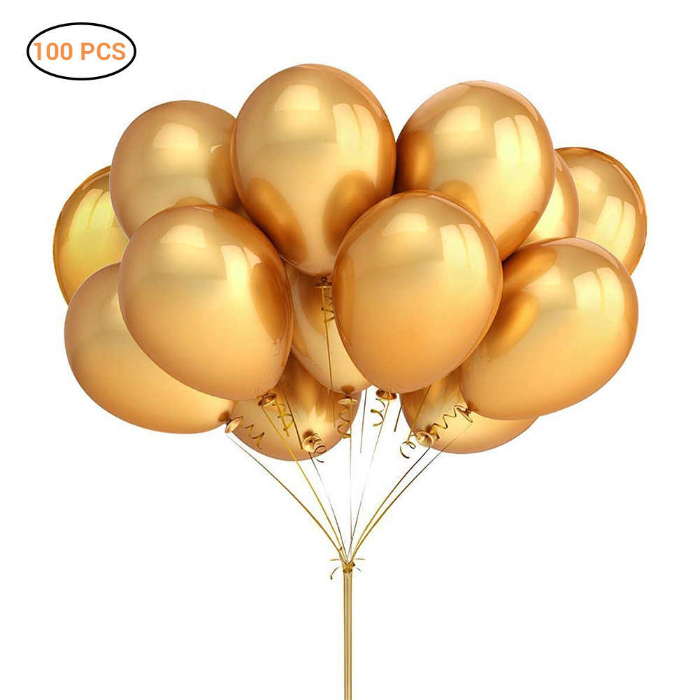 100 Pcs Gold Pearl Latex Balloons Thick Chrome Metallic Colors Inflatable Air Balls  for Wedding Birthday Party Decor