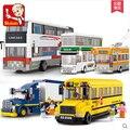 Serie de la ciudad autobús de dos pisos autobús escolar van bloques de construcción sluban m38-b0333 camión contenedor de juguete niños compatiable con kid regalo