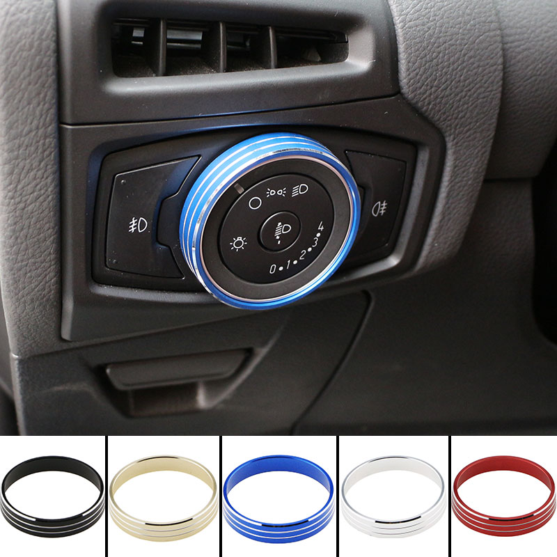 Jameo Auto Car Headlight Switch Knob Circle Protection Cover Trim Stickers for Ford C-MAX CMAX C Max 2017 2018 Accessories