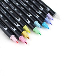 Image 4 - Tombow abt escova dupla caneta arte marcadores caligrafia desenho caneta conjunto brilhante 10 pacote blendable escova ponta fina aguarela rotulação