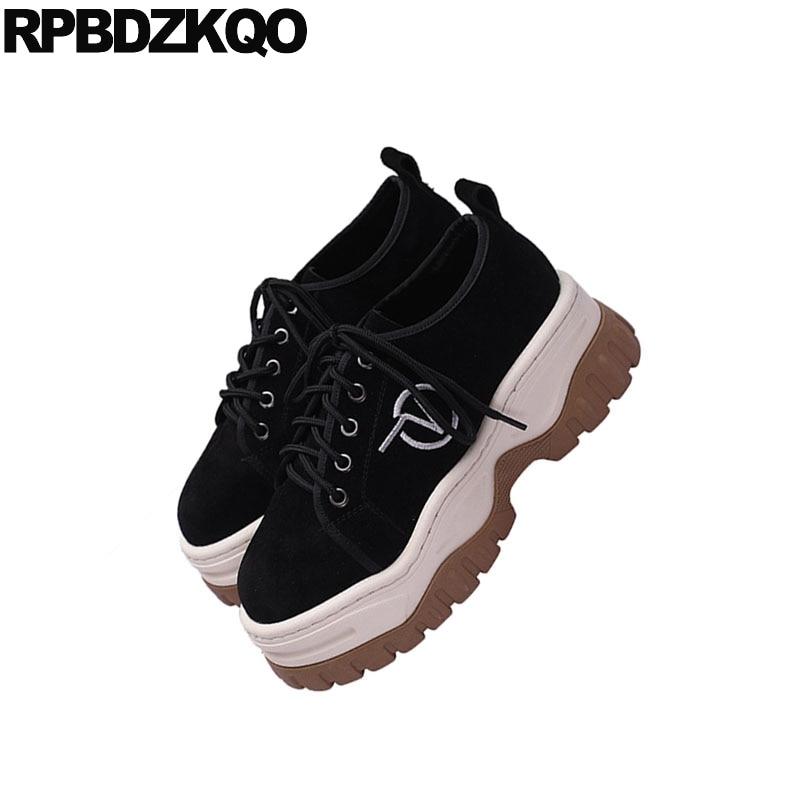 forme Chaussures Cuir Noir Rond Femmes Plate Ascenseur En Antidérapant Harajuku Creepers Muffin Véritable Lacets À Épaisse Daim Bout Semelle 05Yqt