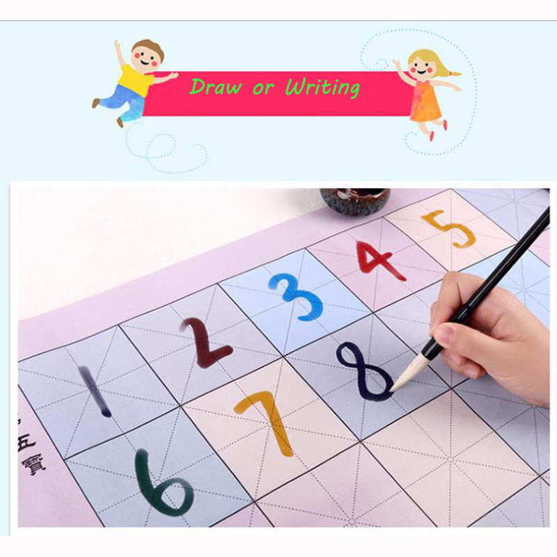 Multifunctional Chinese Calligraphy Colored Water Writing Cloth Book + A Writing Brush Repeat Use For Kid Calligraphy Practice