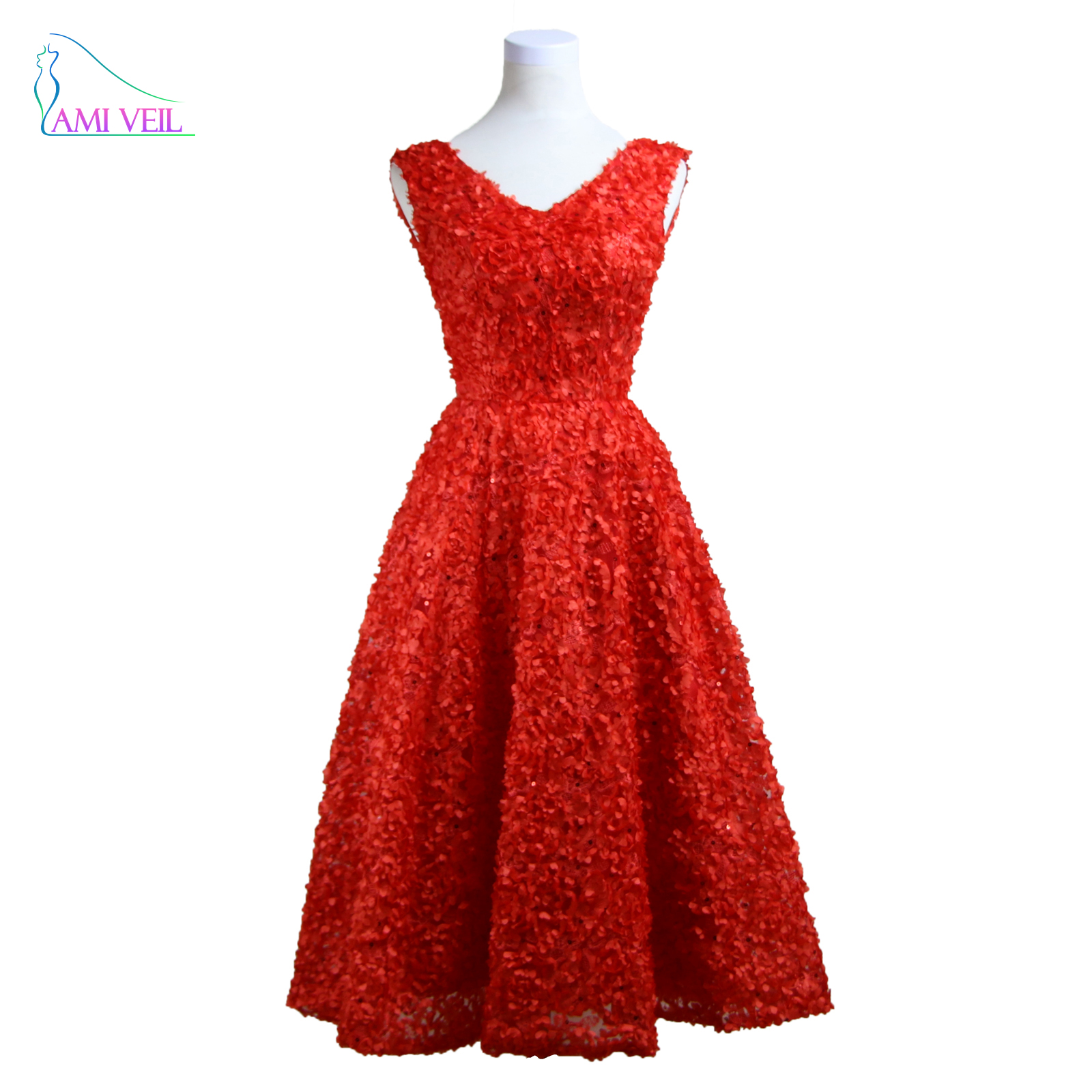 Red Lace Gown Cheap Party Dress Coral Evening Dresses